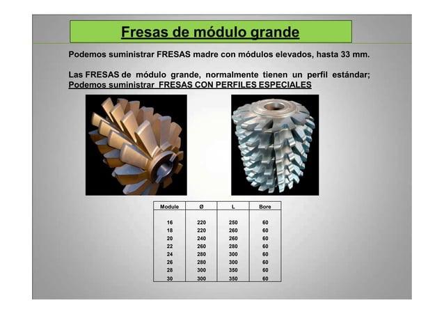 Fresas de módulo grande Podemos suministrar FRESAS madre con módulos elevados, hasta 33 mm. Las FRESAS de módulo grande, n...