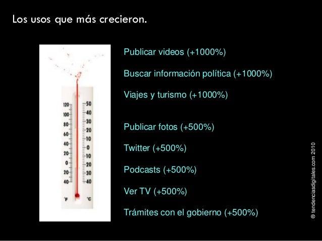 ®tendenciasdigitales.com2010 Los usos que más crecieron. Publicar videos (+1000%) Buscar información política (+1000%) Via...