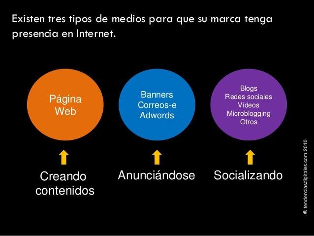 ®tendenciasdigitales.com2010 Existen tres tipos de medios para que su marca tenga presencia en Internet. Creando contenido...