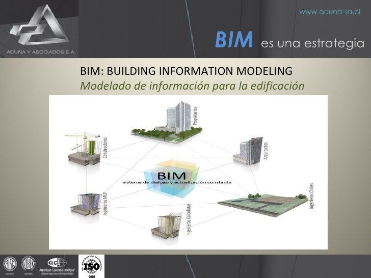 BIM   es una estrategia BIM: BUILDING INFORMATION MODELING Modelado de información para la edificación