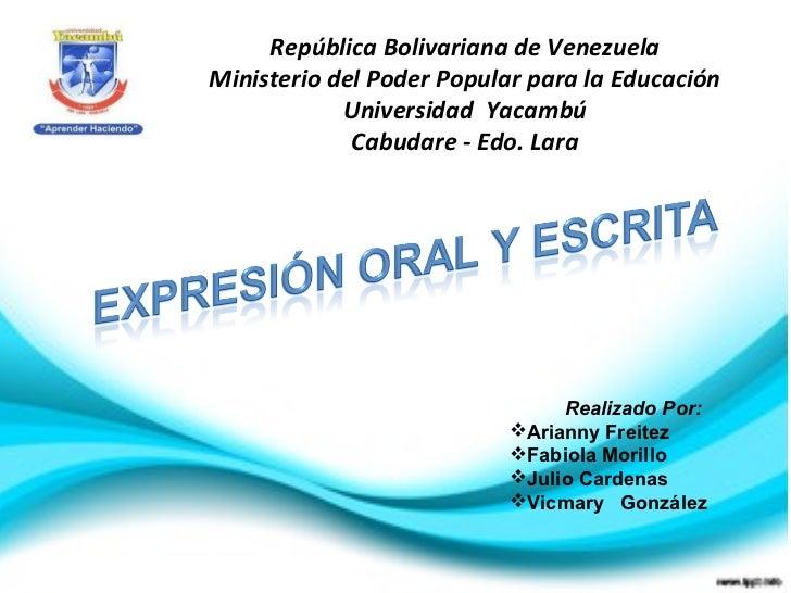 República Bolivariana de VenezuelaMinisterio del Poder Popular para la Educación            Universidad Yacambú           ...