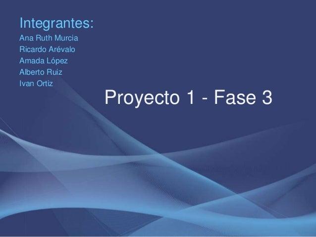 Integrantes: Ana Ruth Murcia Ricardo Arévalo Amada López Alberto Ruiz Ivan Ortiz Proyecto 1 - Fase 3