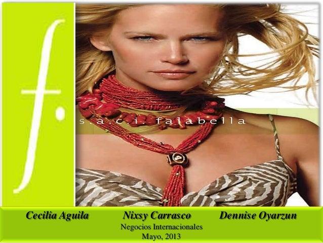 Cecilia Aguila  Nixsy Carrasco Negocios Internacionales Mayo, 2013  Dennise Oyarzun