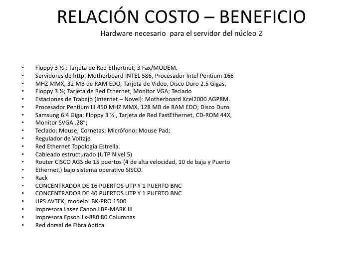 RELACIÓN COSTO – BENEFICIO                           Hardware necesario para el servidor del núcleo 2•   Floppy 3 ½ ; Tarj...