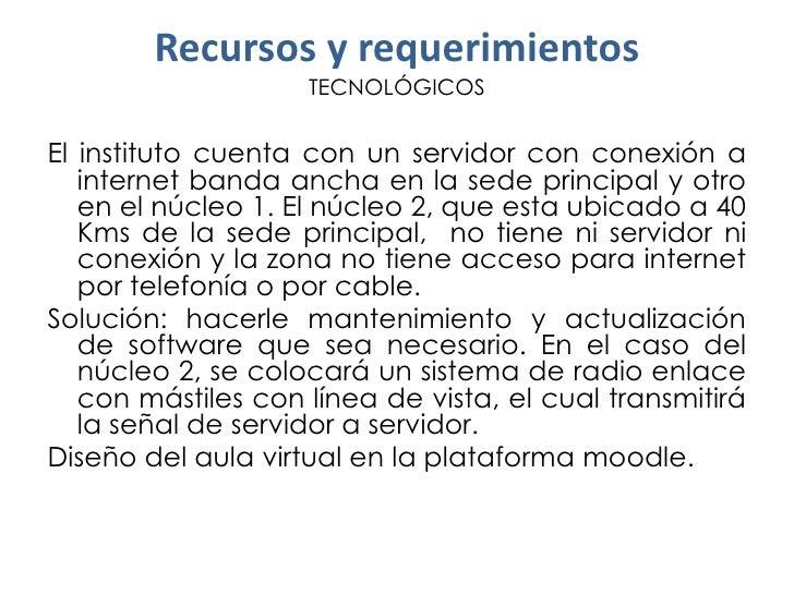 Recursos y requerimientos                    TECNOLÓGICOSEl instituto cuenta con un servidor con conexión a   internet ban...