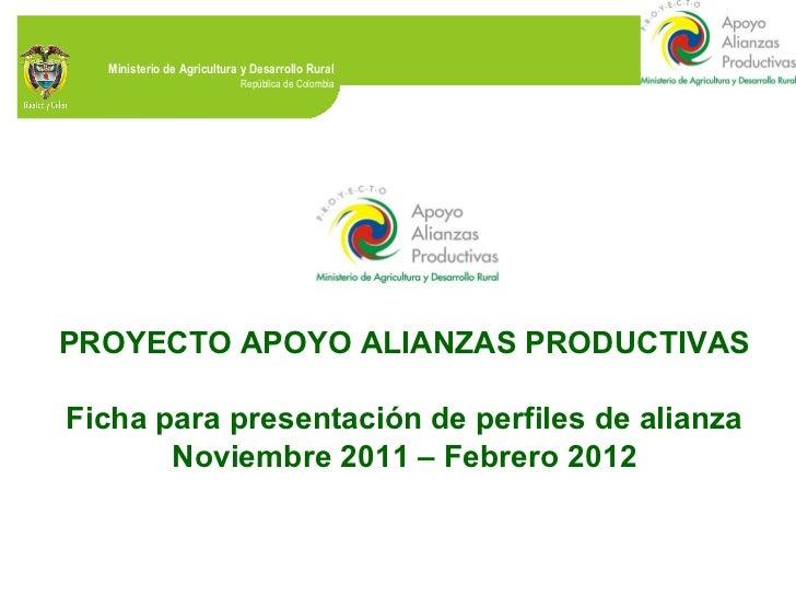 PROYECTO APOYO ALIANZAS PRODUCTIVAS Ficha para presentación de perfiles de alianza Noviembre 2011 – Febrero 2012