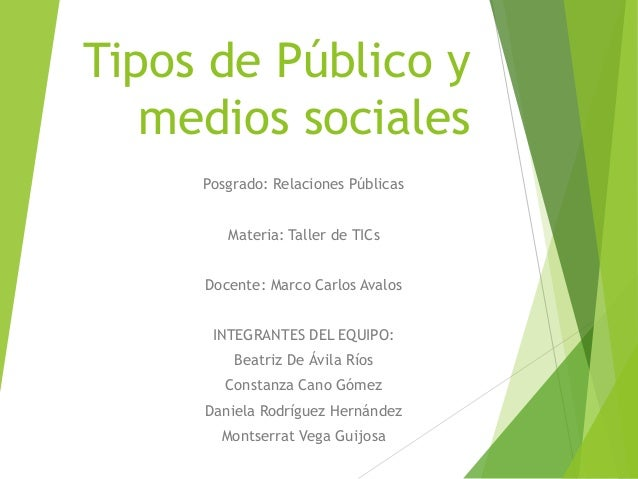 Tipos de Público y medios sociales Posgrado: Relaciones Públicas Materia: Taller de TICs Docente: Marco Carlos Avalos INTE...