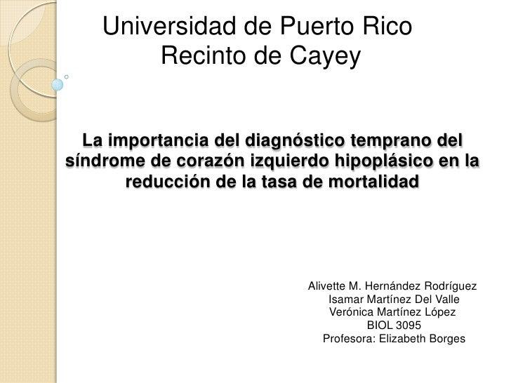 Universidad de Puerto Rico         Recinto de Cayey  La importancia del diagnóstico temprano delsíndrome de corazón izquie...