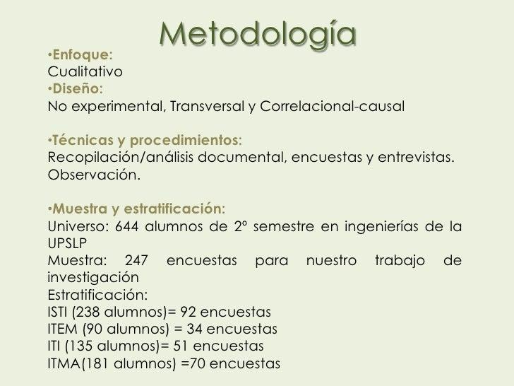 •Enfoque:               MetodologíaCualitativo•Diseño:No experimental, Transversal y Correlacional-causal•Técnicas y proce...