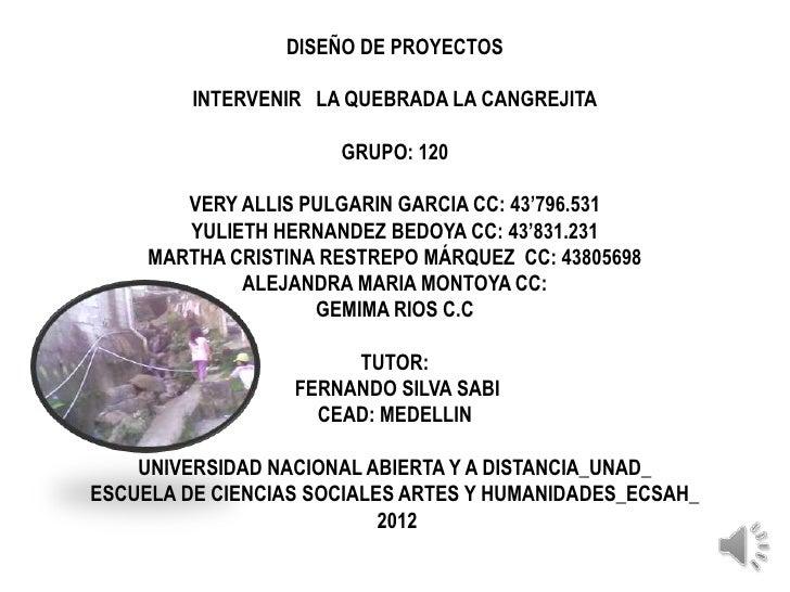 DISEÑO DE PROYECTOS         INTERVENIR LA QUEBRADA LA CANGREJITA                      GRUPO: 120        VERY ALLIS PULGARI...