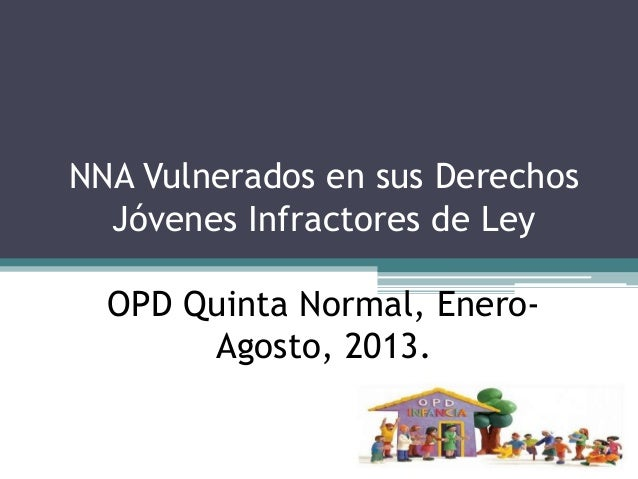 NNA Vulnerados en sus Derechos Jóvenes Infractores de Ley OPD Quinta Normal, Enero- Agosto, 2013.