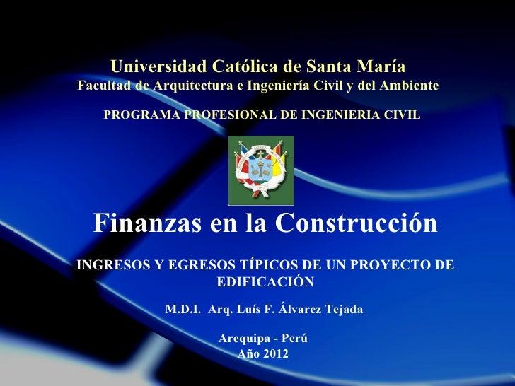 Universidad Católica de Santa MaríaFacultad de Arquitectura e Ingeniería Civil y del Ambiente    PROGRAMA PROFESIONAL DE I...