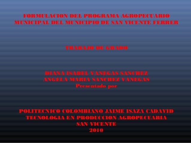 FORMULACION DEL PROGRAMA AGROPECUARIOMUNICIPAL DEL MUNICIPIO DE SAN VICENTE FERRER             TRABAJO DE GRADO       DIAN...
