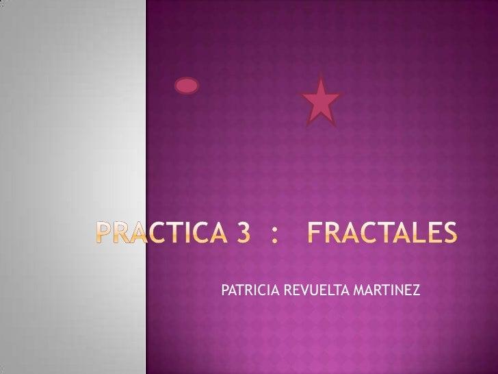 PRACTICA 3  :   FRACTALES<br />PATRICIA REVUELTA MARTINEZ<br />