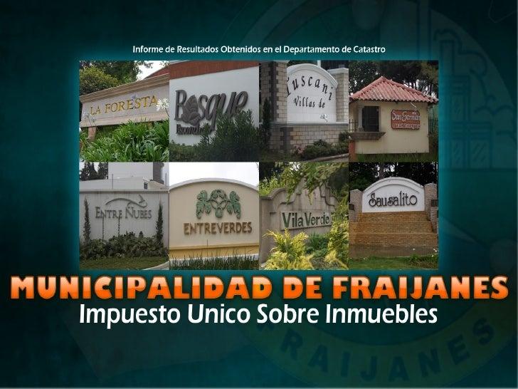 INTRODUCCIONEl objetivo primordial de la Modernización del Catastro Municipal, es la mejora en la Recaudación del Impuesto...