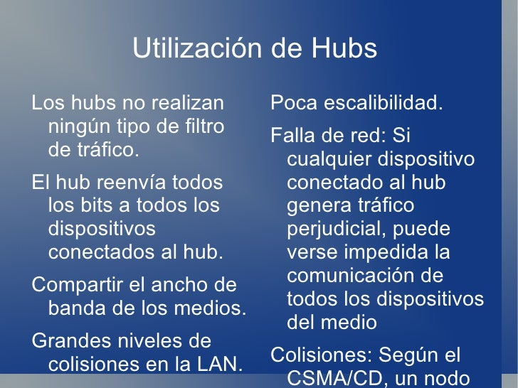 Utilización de Hubs  <ul><li>Los hubs no realizan ningún tipo de filtro de tráfico.