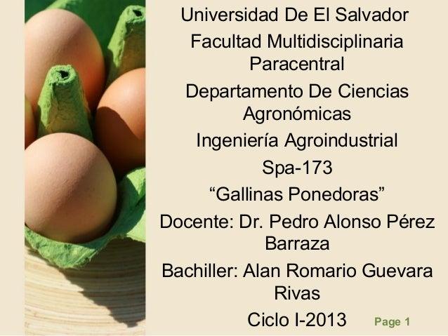 Page 1Universidad De El SalvadorFacultad MultidisciplinariaParacentralDepartamento De CienciasAgronómicasIngeniería Agroin...