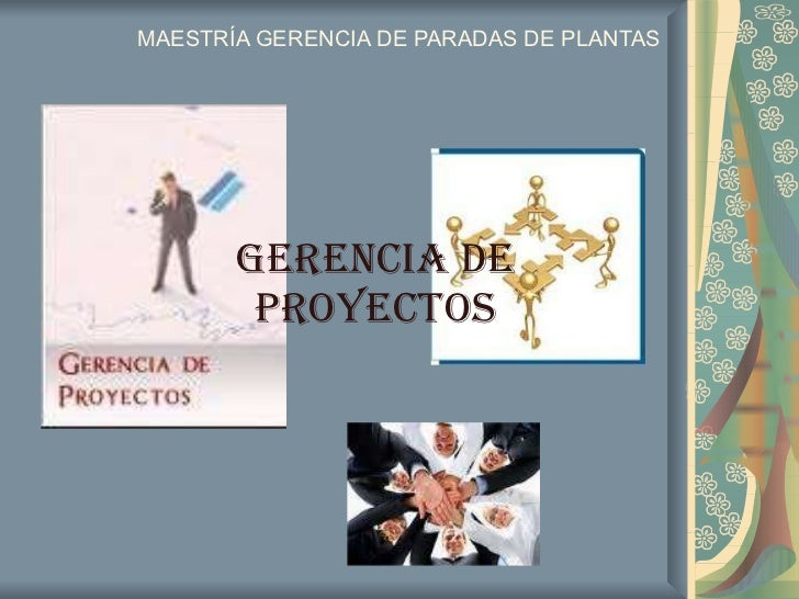 MAESTRÍA GERENCIA DE PARADAS DE PLANTAS GERENCIA DE PROYECTOS