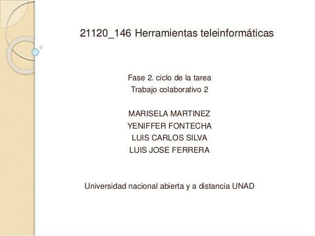 21120_146 Herramientas teleinformáticas Fase 2. ciclo de la tarea Trabajo colaborativo 2 MARISELA MARTINEZ YENIFFER FONTEC...