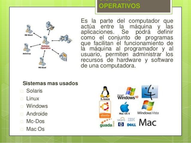 SISTEMAS  OPERATIVOS  Es la parte del computador que  actúa entre la máquina y las  aplicaciones. Se podrá definir  como e...