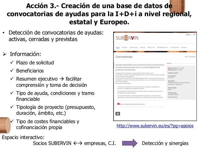 Acción 3.- Creación de una base de datos de convocatorias de ayudas para la I+D+i a nivel regional, estatal y Europeo. • D...