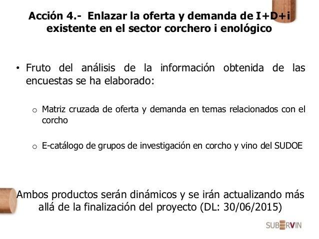 Acción 4.- Enlazar la oferta y demanda de I+D+i existente en el sector corchero i enológico • Fruto del análisis de la inf...