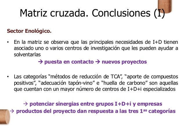 Matriz cruzada. Conclusiones (I) Sector Enológico. • En la matriz se observa que las principales necesidades de I+D tienen...