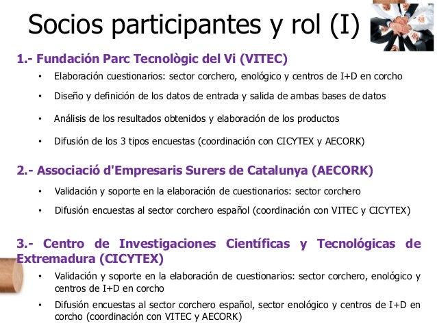 Socios participantes y rol (I) 1.- Fundación Parc Tecnològic del Vi (VITEC) • Elaboración cuestionarios: sector corchero, ...