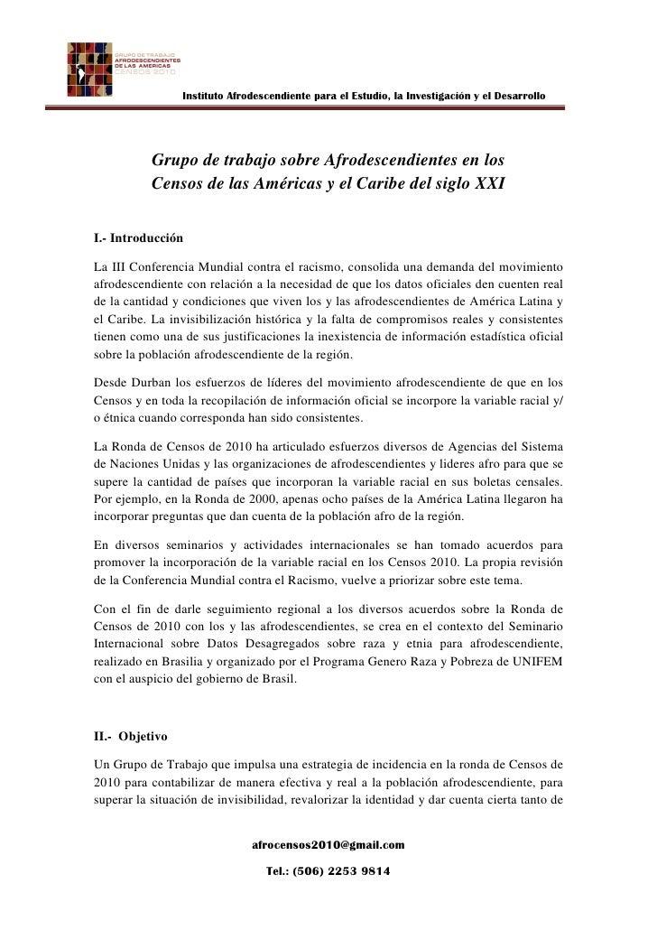 Instituto Afrodescendiente para el Estudio, la Investigación y el Desarrollo           Grupo de trabajo sobre Afrodescendi...