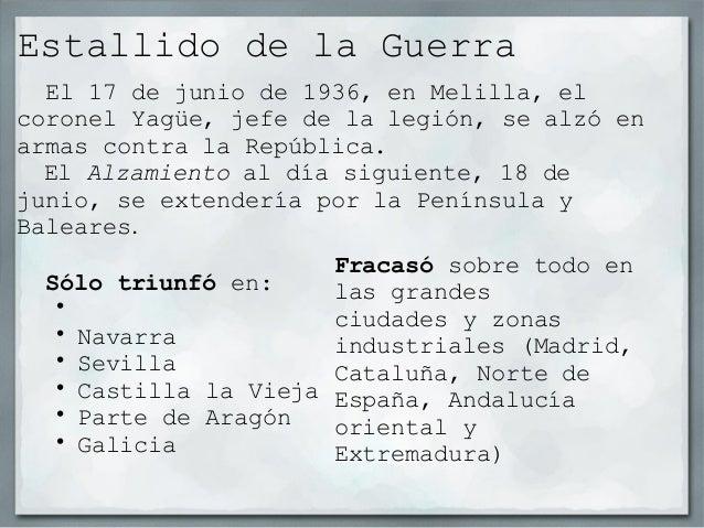 Estallido de la Guerra    El 17 de junio de 1936, en Melilla, elcoronel Yagüe, jefe de la legión, se alzó en             ...