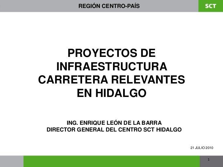 REGIÓN CENTRO-PAÍS    PROYECTOS DE  INFRAESTRUCTURACARRETERA RELEVANTES     EN HIDALGO       ING. ENRIQUE LEÓN DE LA BARRA...