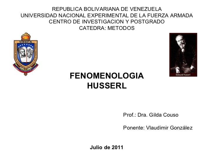 REPUBLICA BOLIVARIANA DE VENEZUELA UNIVERSIDAD NACIONAL EXPERIMENTAL DE LA FUERZA ARMADA CENTRO DE INVESTIGACION Y POSTGRA...