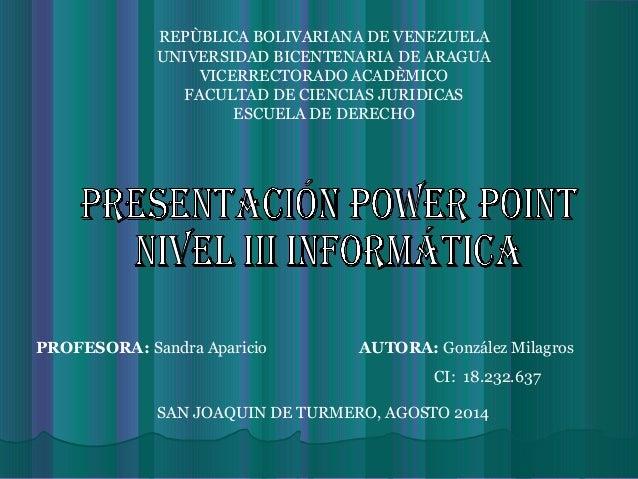 REPÙBLICA BOLIVARIANA DE VENEZUELA UNIVERSIDAD BICENTENARIA DE ARAGUA VICERRECTORADO ACADÈMICO FACULTAD DE CIENCIAS JURIDI...