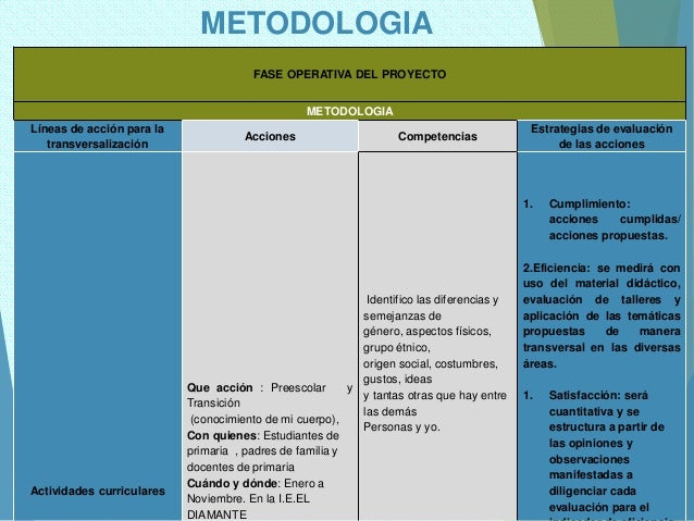 METODOLOGIA FASE OPERATIVA DEL PROYECTO METODOLOGIA Líneas de acción para la transversalización Acciones Competencias Estr...