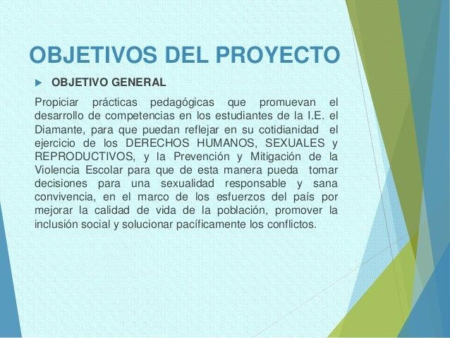 OBJETIVOS DEL PROYECTO  OBJETIVO GENERAL Propiciar prácticas pedagógicas que promuevan el desarrollo de competencias en l...