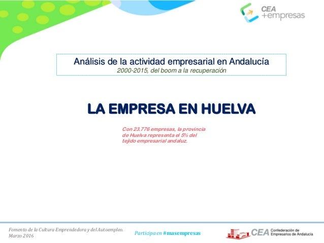 Fomento de la Cultura Emprendedora y del Autoempleo. Marzo 2016 Participa en #masempresas LA EMPRESA EN HUELVA Con 23.776 ...