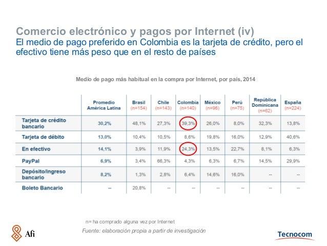 Comercio electrónico y pagos por Internet (iv) El medio de pago preferido en Colombia es la tarjeta de crédito, pero el ef...