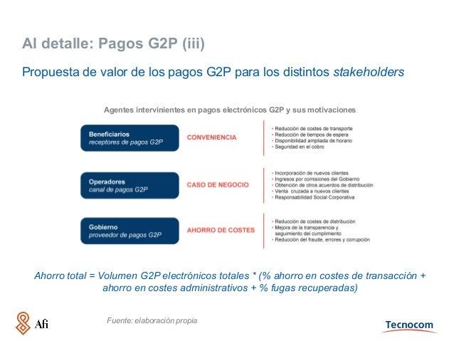 Al detalle: Pagos G2P (iii) Propuesta de valor de los pagos G2P para los distintos stakeholders Agentes intervinientes en ...