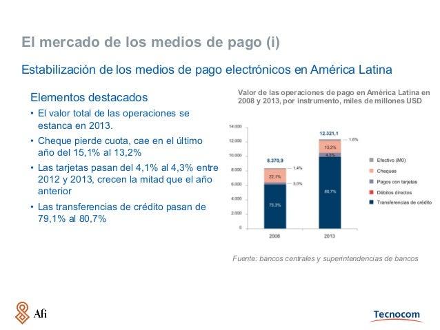 El mercado de los medios de pago (i) Elementos destacados • El valor total de las operaciones se estanca en 2013. • Cheq...