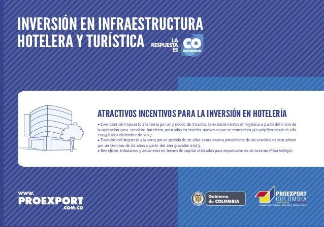 INVERSIÓN EN INFRAESTRUCTURA HOTELERA Y TURÍSTICA  ATRACTIVOS INCENTIVOS PARA LA INVERSIÓN EN HOTELERÍA • Exención del imp...