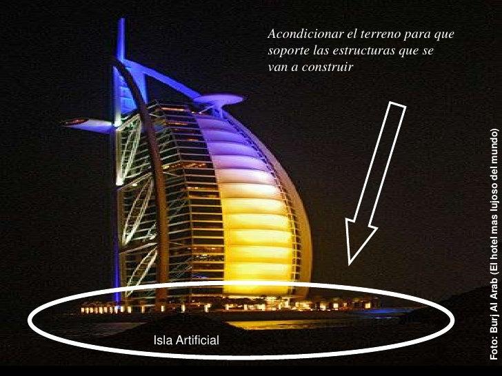 Acondicionar el terreno para que soporte las estructuras que se van a construir<br />INGENIERIA CIVIL<br />Foto: Burj Al A...