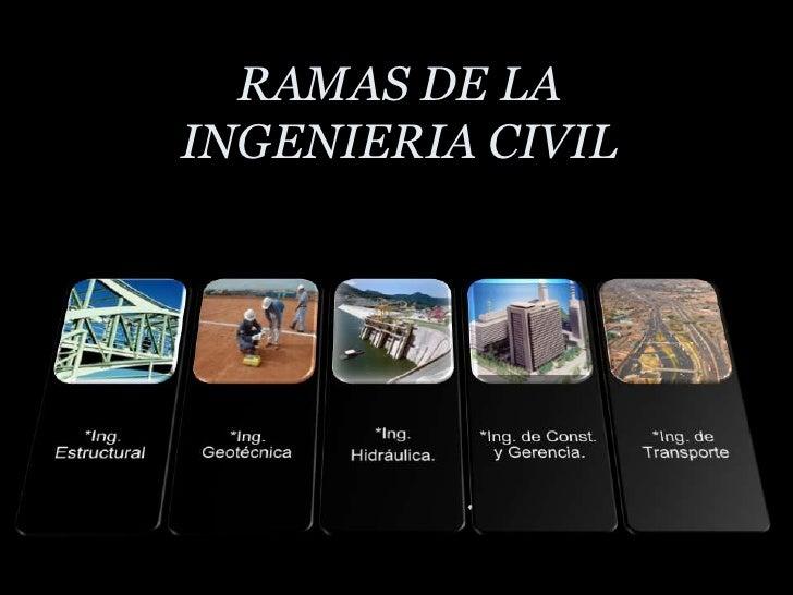 RAMAS DE LA INGENIERIA CIVIL<br />