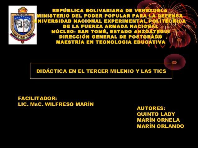 REPÚBLICA BOLIVARIANA DE VENEZUELAMINISTERIO DEL PODER POPULAR PARA LA DEFENSAUNIVERSIDAD NACIONAL EXPERIMENTAL POLITÉCN...