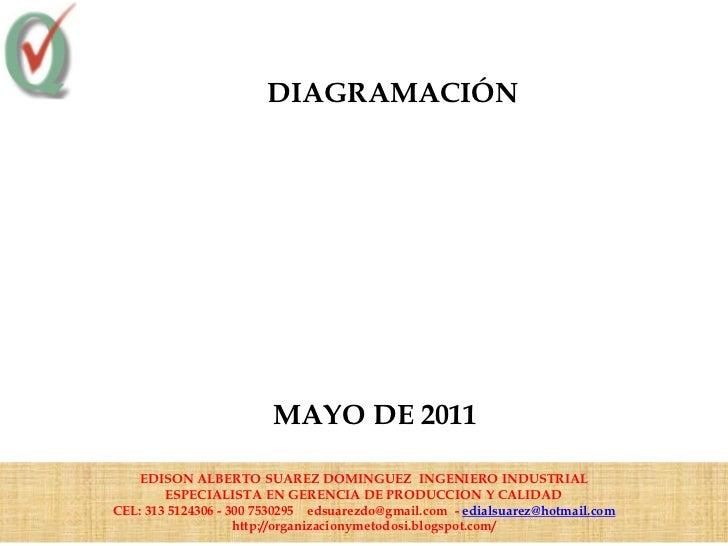 DIAGRAMACIÓN                        MAYO DE 2011   EDISON ALBERTO SUAREZ DOMINGUEZ INGENIERO INDUSTRIAL        ESPECIALIST...