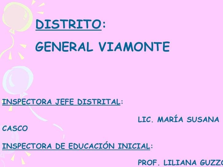 DISTRITO : GENERAL VIAMONTE INSPECTORA JEFE DISTRITAL :  LIC. MARÍA SUSANA CASCO INSPECTORA DE EDUCACIÓN INICIAL :   PROF....