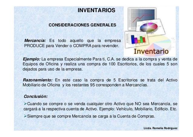 Licda. Romelia Rodríguez  INVENTARIOS  CONSIDERACIONES GENERALES  Mercancía: Es todo aquello que la empresa  PRODUCE para ...