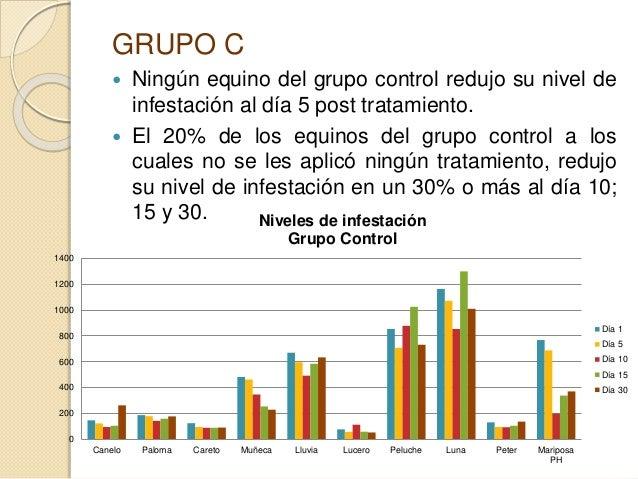 GRUPO C  Ningún equino del grupo control redujo su nivel de infestación al día 5 post tratamiento.  El 20% de los equino...