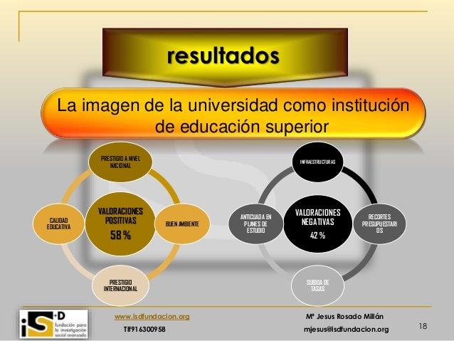 18 www.isdfundacion.org Mª Jesus Rosado Millán Tlf916300958 mjesus@isdfundacion.org resultados La imagen de la universidad...