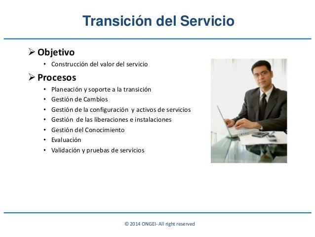 © 2014 ONGEI- All right reserved Transición del Servicio Objetivo • Construcción del valor del servicio Procesos • Plane...