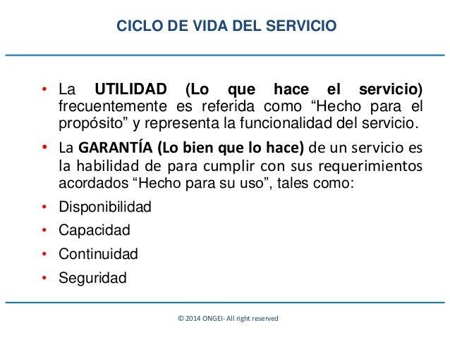 """© 2014 ONGEI- All right reserved • La UTILIDAD (Lo que hace el servicio) frecuentemente es referida como """"Hecho para el pr..."""